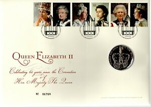 GB 2013 COVER QUEENS 60TH CORONATION WITH £5 COIN