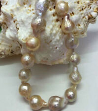 "Rare 11-14mm Natural South Baroque Lavender Akoya Pearl Fashion Necklace 18"""