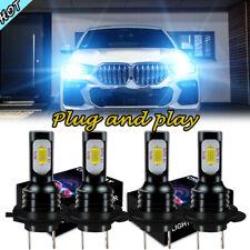 4x Blue H7 + H7 LED Headlight Kit For BMW 330Ci 325Ci 01-06 525i 530i 2004-2007