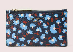 Kate Spade spencer party floral small slim bifold wallet Card Case ~NWT~ Blue