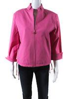 St. John Sport Essentials By Marie Gray Womens Cotton Zip Up Jacket Pink Size M