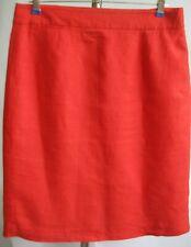 J.CREW Skirt Straight Pencil Scarlet Red 100% Linen/Flax Sz10 Pocket Career