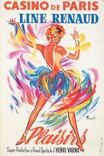 Original Vintage Poster Prenot Casino de Paris Plaisirs Line Renaud