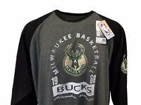 Milwaukee Bucks Majestic Gray & Black 3/4 Sleeve Shirt Big and Tall nwt