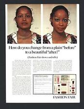 VINTAGE PRINT AD BLACK AMERICANA 1975 FASHION FAIR COSMETICS BEFORE & AFTER