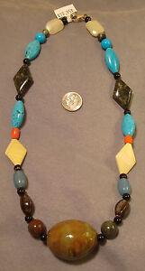 Beaded necklace semiprecious beads 1 handmade pendant ceramic beads fj021