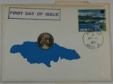 """1969 Jamaican 5 Cent Coin, BU, First day of issue, W/8c """"Gypsium Industry"""" Stamp"""