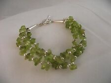 Sterling Silver 925 Multi-Strand Peridot & Sterling Silver Ball Toggle Bracelet