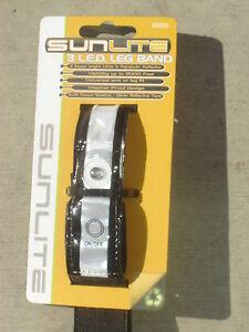 SUNLITE 3 LED Light Reflective Biking Running Jogging Leg Band Bright Safety