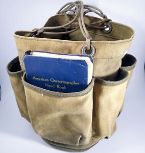 Vintage Photographer/cinematographer gig bag with miscellaneous equipment tools
