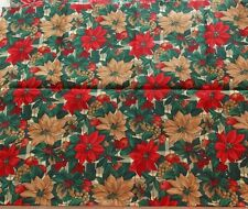 Poinsettia Fabric Cranston Cotton Christmas Quilt Stash Home Decor 1 1/2 Yards