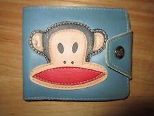 PAUL FRANK Wallet Julius Monkey Blue Leather Snap Bifold ID