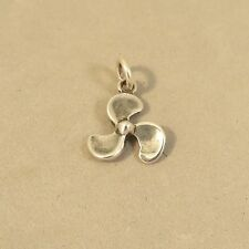 .925 Sterling Silver 3-D BOAT PROPELLER CHARM NEW Pendant Motor Sail 925 NT103