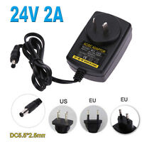 DC24V 2A Adapter AC 100V-240V to DC 24V Converter Power Supply Adapter EU UK US