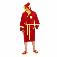 Official Men's Justice League The Flash Logo Red Adult Dressing Gown Bathrobe