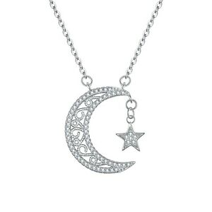 Hiqmic 925 Sterling Silver Sweet Moon Cat Pendant Necklace for Women Fashion Jewelry Gifts WK99041 16-18