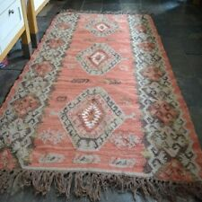100% Wool Kilim Grey, Rust, Brown 120x180cm Quality Hand Made Reversible rug
