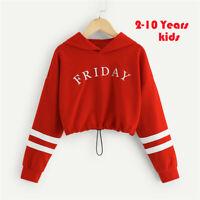 Toddler Teen Kids Girls Letter Stripe Hoodie Sweatshirt Long Sleeve Tops Blouse