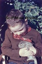KODAK Blue Border 35mm Slide Cute Little Boy Holding Bunny Rabbit Cowboy 1950s!