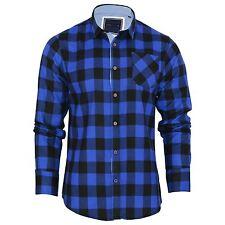 Mens Collared Tartan Checked DESIGNER Detail Cotton Casual Shirt Top Royal UK Large