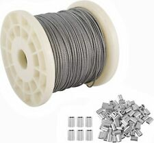 """328ft 1/16"""" Stainless Steel Cable Wire Rope with 100 Pcs Cable Loop Sleeve"""