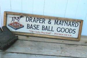 Antique Style Draper Maynard Baseball Glove Bat  Trade Sign Babe Ruth 6x24