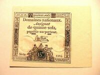 1792 France Assignat 15 Sols Original CU Gem French Paper Money Currency P-a65