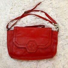 Jonathan Adler Red LEATHER Geometric Shoulder Bag Purse Tote Handbag FLAWS