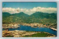 Honolulu HI Aerial Scenic Harbor And Mountain View Ship Chrome Hawaii Postcard