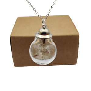 Dandelion Make a Wish Real Flower Openable Glass Ball Pendant Silver Necklace