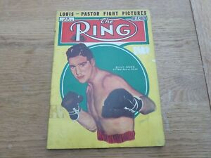 1939 DEC ORIGINAL THE RING BOXING MAGAZINE JOE LOUIS- PASTOR FIGHT PICTURES