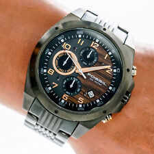 Fossil Mens Watch CH2560 Black Chronograph Wood Grain Date Dial 100m Working