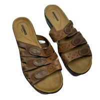 Collection by Clarks Sandals Women's Size 10 M Brown Soft Cushion 3-Strap Slides