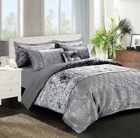 Crushed Velvet Duvet Cover Quilt Set + Pillow Cases Double King Super King Size