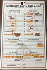 EVAN LONGORIA 1500TH CAREER GAME GAME-USED LINEUP CARD 6/12/18 RAYS GIANTS MLB