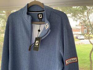 New FootJoy Quarter Zip Titleist Patch Large Heather Blue NWT