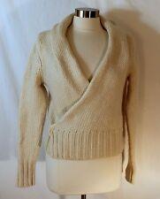 Banana Republic Cozy Wrap Cardigan Thick Ivory Wool Mohair Sweater sz S