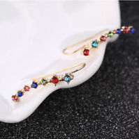 Bar Shape Crystal Ear Climbers Rose Gold Fashion Earrings for Women Jewelry
