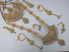 Jodha's Gold Plated Bridal Kundan Zerconic Jewelry Set All Accessories ES3