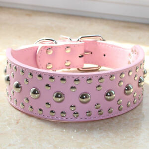 "Brand NEW 2"" Wide Pink Leather Mushroom Studded Dog Collar Large pet Dog Pitbull"