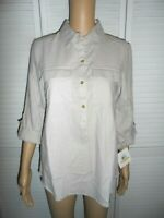 Great Ellen Tracy size S khaki 1/2 button front roll tab 3/4 sleeve shirt NWT