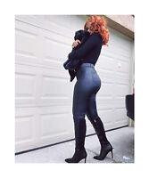 Onlymaker Women High Heel Knee High Boots Patchwork Pointy Toe Stiletto Side Zip