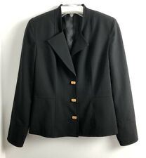 Reba Suit Jacket Blazer 8 Black Peplum Gold Tone Closures Shoulder Pads Career