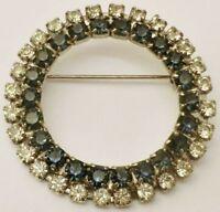broche bijou vintage couleur argent couronne cristaux diamant saphir * 3684