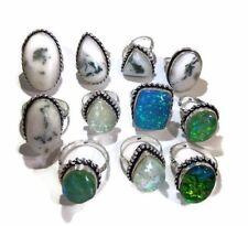 Bulk Lot !! 20 PCs. FLOURITE & OPLAS 925 Sterling Silver Plated Ring Jewelry