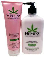 Hempz POMEGRANATE SET Herbal Body Creme (17 Oz) + Herbal Body Wash (8.5 Oz )