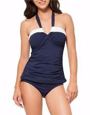 NWT Anne Cole Navy White Contrast Trim Cinched Side Tie Tankini Swimsuit S ap20