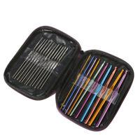 Aluminum Crochet Hooks Needles Knit 22pcs Set Multi Color Weave Craft Yarn