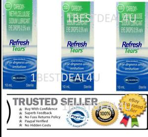 3 X Refresh Tears Lubrifiant Eye Gouttes Pour Sèche & Irritation 10ml Chaque F.S