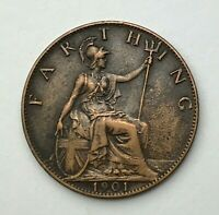 Dated : 1901 - One Farthing - 1/4d Coin - Queen Victoria - Great Britain